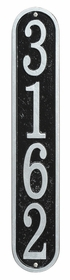 Whitehall Products Fast & Easy Vertical House Numbers Plaque - Black / Silver Lettering