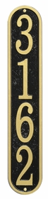 Whitehall Products Fast & Easy Vertical House Numbers Plaque - Black / Gold Lettering
