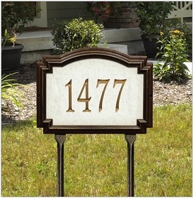 Williamsburg Artisan Stone Standard Lawn Address Sign - One Line
