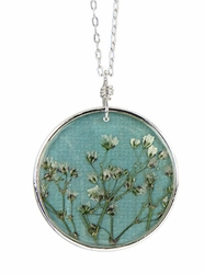 "Baby's Breath 16"" Lg Rd. Necklace-Blue"