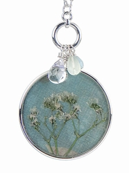 "Baby's Breath 16"" Lg Rd w/Bead Necklace-Blue"
