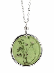 "Baby's Breath 16"" Med Rd Necklace-Green"