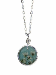 "Baby's Breath 16"" Petite Rd Necklace-Blue"