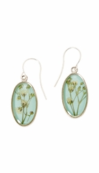Baby's Breath Blue Small Oval Earrings