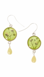 Baby's Breath Green Petite Rd. w/Drop Earrings