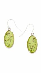 Baby's Breath Green Small Oval Earrings