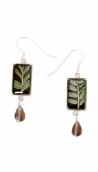 Bamboo Small Rectangle w/Wire Drop Earrings