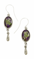 Blooming Thyme on Acai Ultra SM Oval Earrings w/Drop