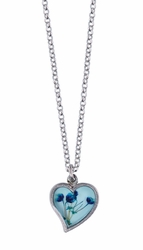 Blue Baby's Breath on Blue Sml. Hearts Pendant