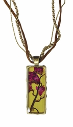 """Coral Bell 16"""" Lg Rect. Necklace w/Suede-2 Chains"""