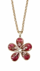 "Coral Bell 5 Petal Flower 16"" Adj. Necklace"