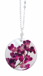 "Coral Bell on Shell 16"" Lg Rd. Necklace"