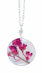 "Coral Bell on Shell 16"" Med Rd. Necklace"