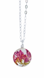"Coral Bell on Shell 16"" Petite Rd. Necklace"