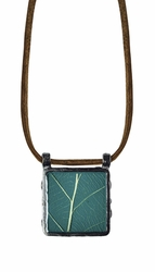 "Damiana Oak 16"" Med Sq Suede Necklace"