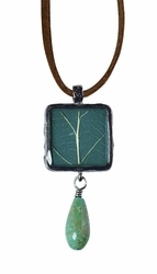 "Daminana Oak 16"" Sml Sq Necklace w/Drop Suede"