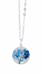 "Forget Me Not on Shell 16"" Petite Rd. Necklace"