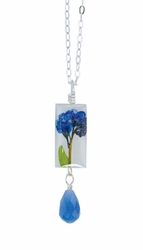 "Forget Me Not on Shell 16"" Sml Rect. Necklace w/Drop"