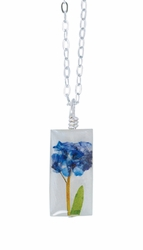 "Forget Me Not on Shell 16"" Sml Rect. Necklace"