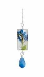 Forget Me Not on Shell Sml Rect. w/Drop Earrings