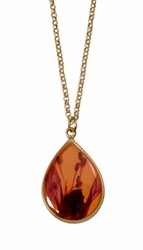 Fuchsia on Nectarine Teardrop Necklace