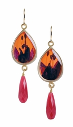 Fuschia on Nectarine Teardrop w/Drop Earrings