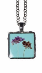 "Laceflower on Blue 16"" Lg Sq. Necklace"
