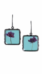 Laceflower on Blue Sml Sq. Earrings