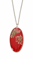 "Laceflower Red 16"" Large Oval Necklace"