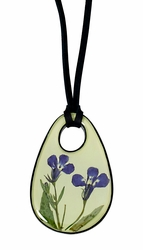 Lobelia Lime LG Teardrop on Leather