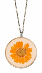Orange Daisy LG Round Necklace