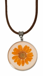 Orange Daisy LG Round Leather Necklace