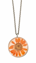 Orange Daisy MED Round Necklace