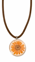Orange Daisy MED Round Leather Necklace