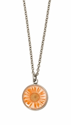 Orange Daisy SM Round Necklace