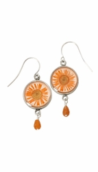 Orange Daisy SM Round Earrings w/Drop
