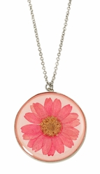 Pink Daisy LG Round Necklace