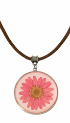 Pink Daisy LG Round Leather Necklace