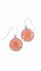 Pink Daisy SM Round Earrings
