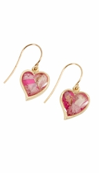 Pink Larkspur Small Heart Wire Earring