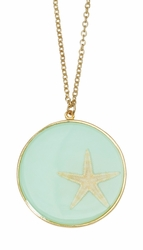 Pink Starfish Aqua LG Round Necklace
