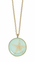 Pink Starfish Aqua Med Rnd Necklace