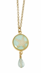 Pink Starfish Aqua Sm Rnd Necklace w/Drop