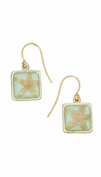 Pink Starfish Aqua Sq Earrings