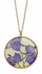 Purple Larkspur Lime Lg Rnd Necklace