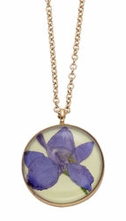Purple Larkspur Lime MD Rnd Necklace