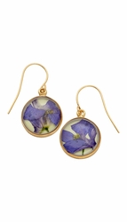 Purple Larkspur Lime Rnd Earrings