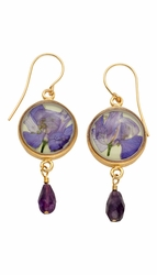 Purple Larkspur Lime Rnd Earrings w/Drop