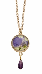Purple Larkspur Lime Rnd Necklace w/Drop