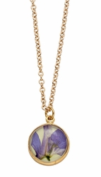 Purple Larkspur Lime Sm Rnd Necklace